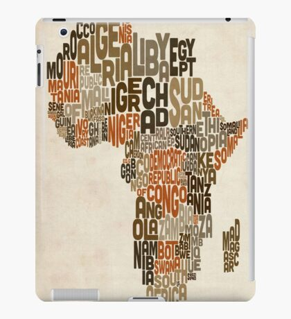 Typography Text Map of Africa iPad Case/Skin
