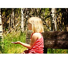 Young Girl With Bird Feed Photographic Print