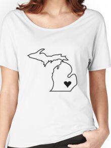 Michigan Love - Black  Women's Relaxed Fit T-Shirt