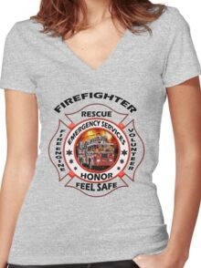 Fire fighter vintage logo  gifts Women's Fitted V-Neck T-Shirt