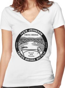 Vintage retro Iver Johnson Truss Bridge bicycle ad Women's Fitted V-Neck T-Shirt