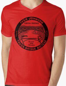 Vintage retro Iver Johnson Truss Bridge bicycle ad Mens V-Neck T-Shirt