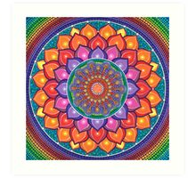 Lotus Rainbow Mandala Art Print