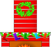 Fireplace at Christmas by boogeyman