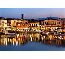 The old Venetian port of Rethymno Photographic Print