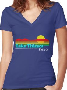 Funny Lake Titicaca, Bolivia (Vintage Distressed) Women's Fitted V-Neck T-Shirt