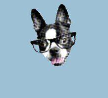 Hipster Boston Terrier (Pop Art Pixel Design) Womens Fitted T-Shirt