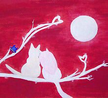 Full-moon Love - Two Loving Cats by Gwynith Lee