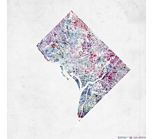 discrict of columbia map cold colors Photographic Print