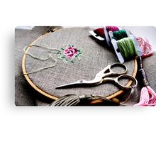 Cross stitch rose on embroidery hoop Canvas Print