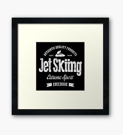 JetSkiing Extreme Sport White Art Framed Print