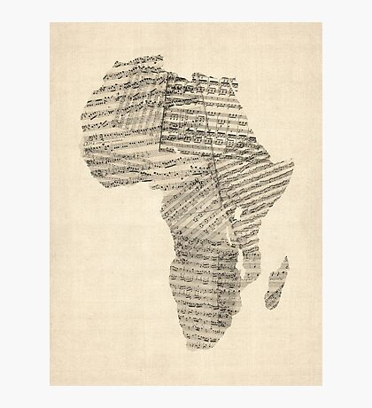 Old Sheet Music Map of Africa Map Photographic Print