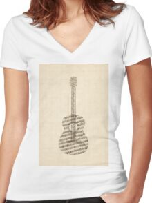 Acoustic Guitar Old Sheet Music Women's Fitted V-Neck T-Shirt