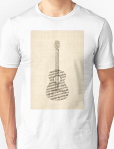 Acoustic Guitar Old Sheet Music Unisex T-Shirt
