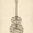 Acoustic Guitar Old Sheet Music by Michael Tompsett