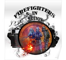 Fire fighter camera vintage gifts  Poster