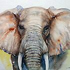 Chestnut Brown Elephant in Watercolor by Arti Chauhan