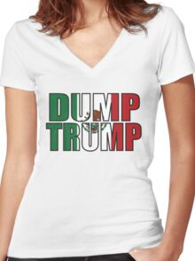 Dump Trump Mexican Flag Women's Fitted V-Neck T-Shirt