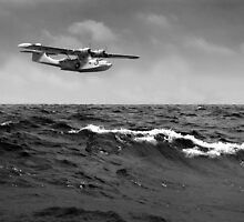 Catalina at sea black and white version  by Gary Eason