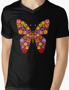 Flowers butterfly silhouette Mens V-Neck T-Shirt