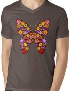 Flowers butterfly silhouette Mens V-Neck T-Shirt