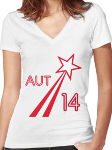 AUSTRIA STAR Women's Fitted V-Neck T-Shirt
