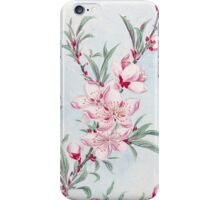 Peach Blossoms, Petals, Leaves - Pink Green iPhone Case/Skin