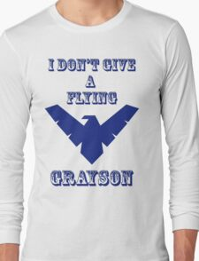 I don't give a flying grayson - transparent text Long Sleeve T-Shirt