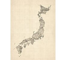 Old Sheet Music Map of Japan Photographic Print