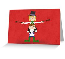 Children dressed as Snowman Christmas Greeting Card Greeting Card