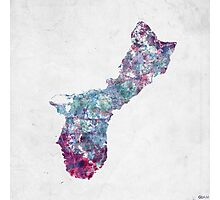 guam map cold colors Photographic Print