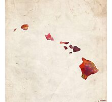 hawaii map warm colors Photographic Print
