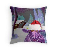 Pearl the Purple Cow waiting for Santa Throw Pillow