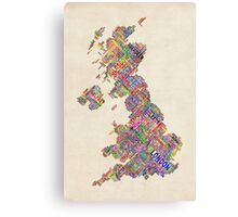 Great Britain UK City Text Map Canvas Print