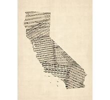Old Sheet Music Map of California Photographic Print