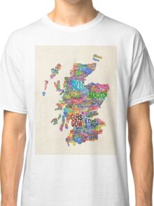 Scotland Typography Text Map Classic T-Shirt