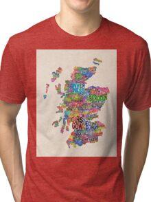 Scotland Typography Text Map Tri-blend T-Shirt