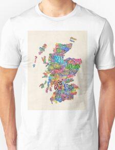 Scotland Typography Text Map Unisex T-Shirt