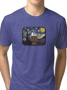 The starry night with Snoopy Tri-blend T-Shirt