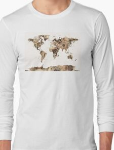 Map of the World Map Sepia Watercolor Long Sleeve T-Shirt