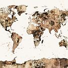 Map of the World Map Sepia Watercolor by Michael Tompsett