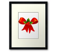 Holly and Red Bow Framed Print