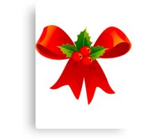 Holly and Red Bow Canvas Print