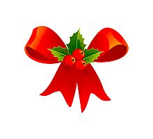 Holly and Red Bow Photographic Print