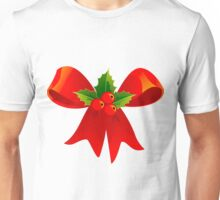 Holly and Red Bow Unisex T-Shirt