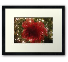 Red Bow on Christmas Tree Framed Print