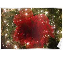 Red Bow on Christmas Tree Poster