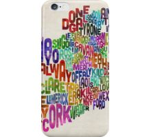 Ireland Eire County Text Map iPhone Case/Skin