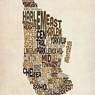 Manhattan New York Typography Text Map by Michael Tompsett