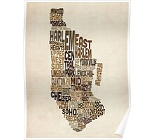 Manhattan New York Typography Text Map Poster